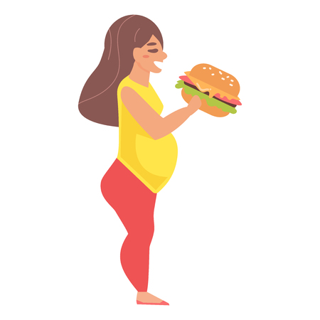 Fat woman with hamburger vector illustration