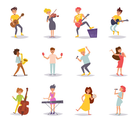 Set with musicians. Vector. Stock Illustratie