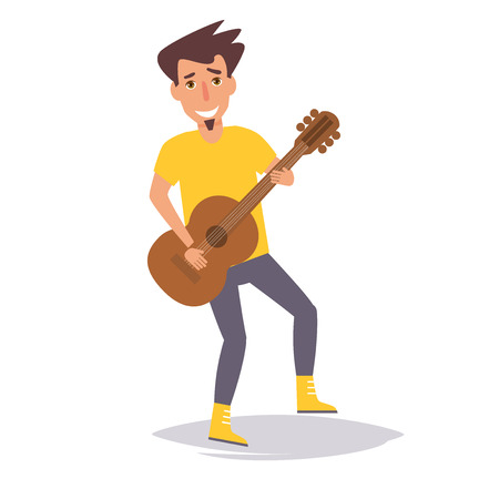 Man playing guitar. Vector.