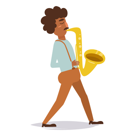 Man playing on saxophone.