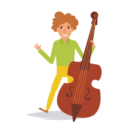 Man playing on contrabass vector illustration. Illustration