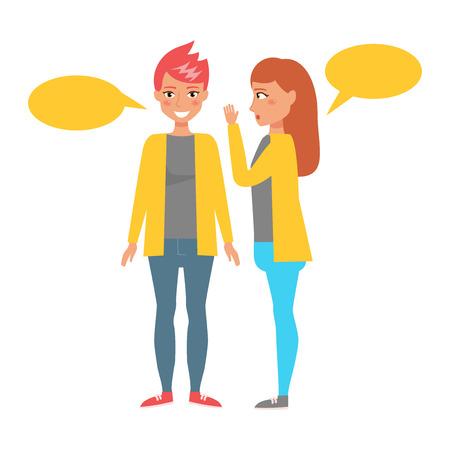 Gossip. Vector. Cartoon. Isolated