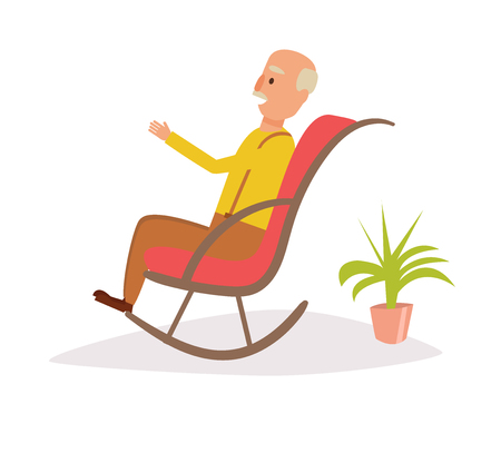 Old man rocking in a rocking chair Vector. Cartoon on Isolated art on white background.