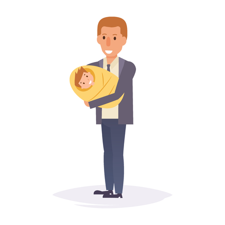 Father and baby cartoon vector illustration.