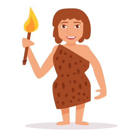 Woman of the stone age. Isolated art on white background. Vector. Cartoon. Flat. Illustration