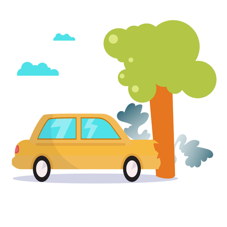 Car collided with tree. Isolated Illustration