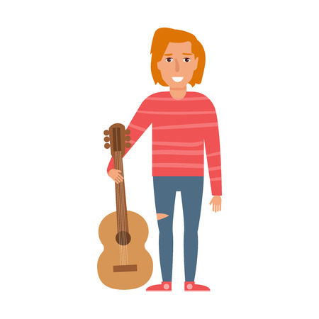 Musical style vector cartoon isolated art on white background flat man stands near guitar, grunge.