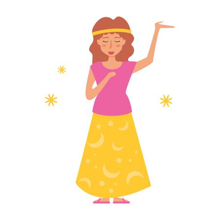 Cartoon vector isolated art on white background flat hippy.