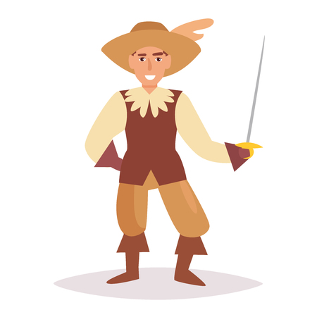 Musketeer vector cartoon isolated art on white background flat design. Vectores