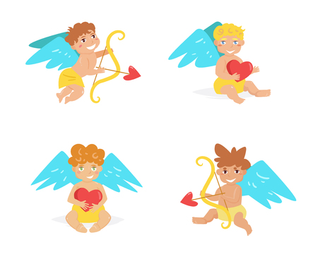 Cupid collections with different style isolated vector illustration