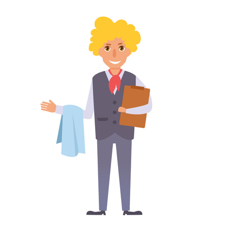 Waiter cartoon vector illustration.