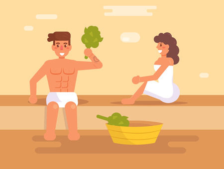 Man and a woman in the sauna. Vector. Cartoon. Isolated art. Flat