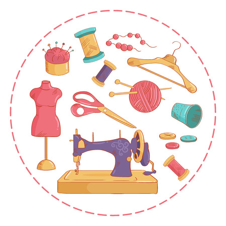 Sewing kit. Vector