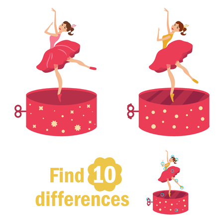 Find 10 differences. Dancer in the music box.