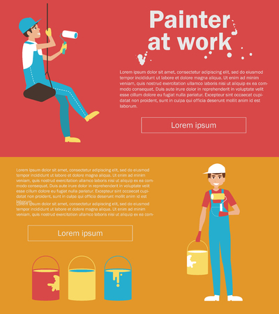 Painter at work. Banner for website, flyer. Vector isolated illustration. Cartoon character