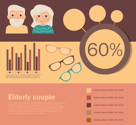 Elderly couples. Vector illustration in flat style. Image for booklets, brochures, flyers, websites. Cartoon character. Place for text