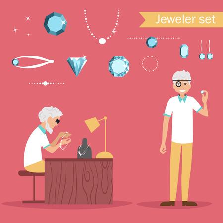 Jeweler. Profession Vector illustration Cartoon character. set