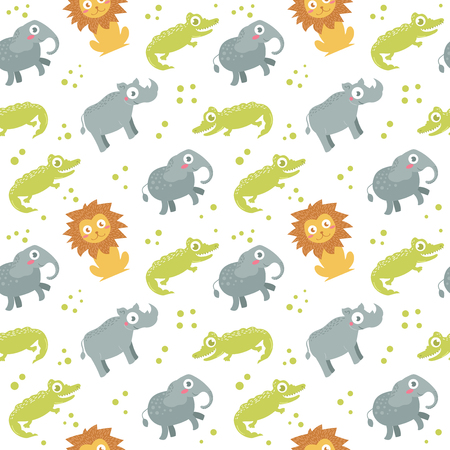 Childrens seamless pattern. Vector illustration in flat style. Pattern for clothing, backgrounds, baby products.lion, elephant, unicorn, alligator crocodile