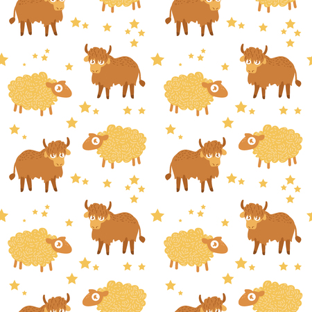 Children's seamless pattern. Vector illustration in flat style. Pattern for clothing, backgrounds, baby products. Yak, sheep