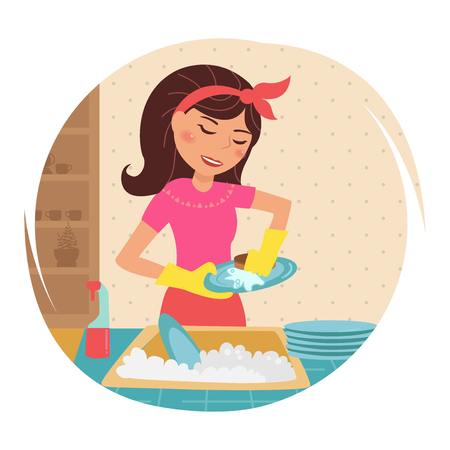 Housewife washes dishes.