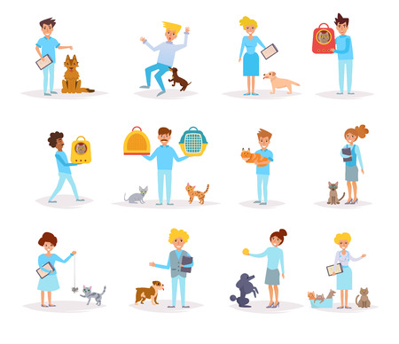 Veterinarians with animals graphic Illustration set.