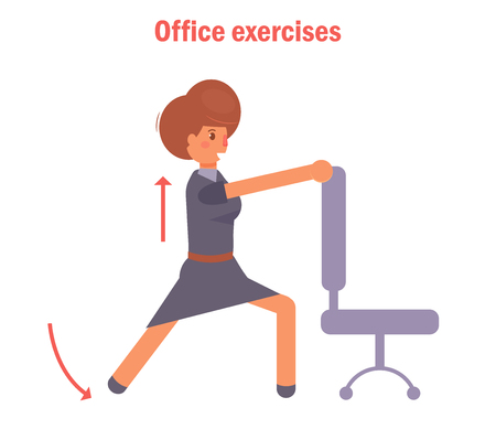 Office exercises with a chair Illustration