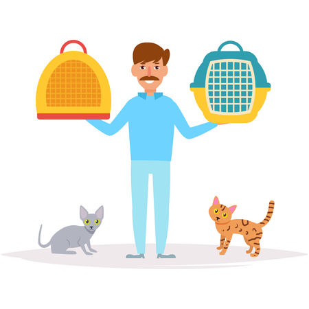 Male veterinarian with pets in Cartoon Illustration. Vettoriali