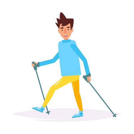Nordic walking. Vector. Cartoon.