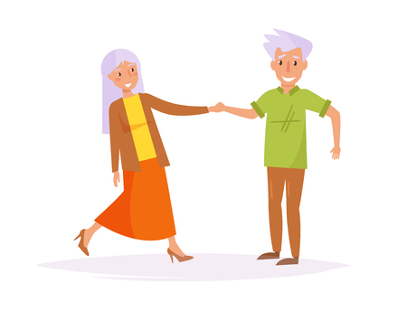 Old people dancing in Cartoon Illustration.