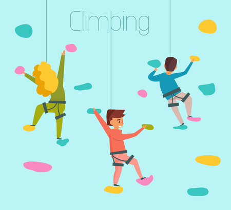 Climbing in cartoon colored illustration.