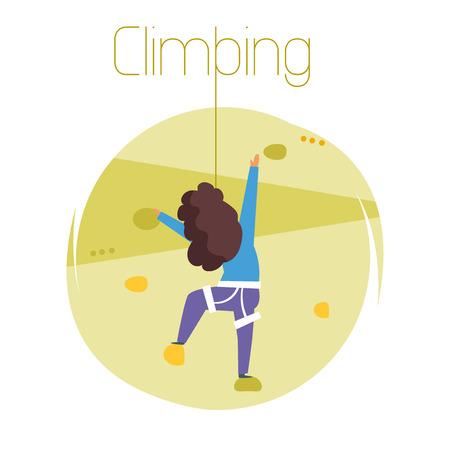 Climbing. Vector. Cartoon.