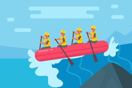 Rafting. Vector. Cartoon. Isolated Illustration