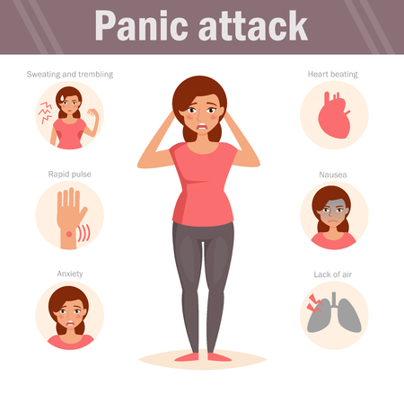 Woman on Panic attack illustration Stock Illustratie