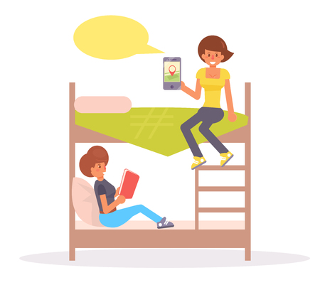 Two woman on bed reading and holding a smartphone.