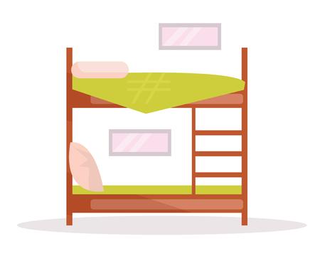 Bunk bed. Vector. Cartoon
