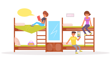 An isolated flat art of a dormitory with student on colored illustration.