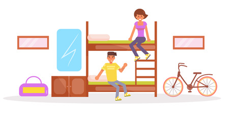 Dormitory, hostel vector cartoon with man and woman on double deck bed.