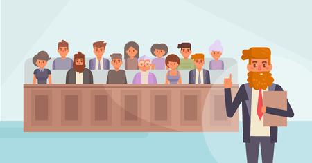 Giuria in tribunale fumetto vettoriale. Vettoriali
