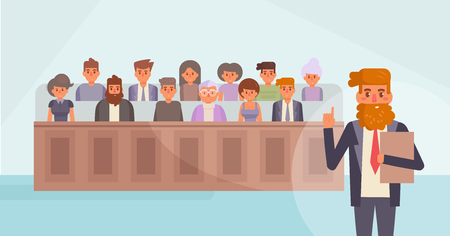 Jury in court vector cartoon. Vettoriali
