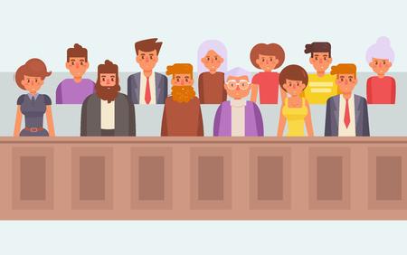 Jury in court. Vector. Cartoon.
