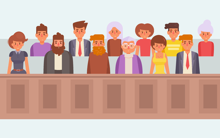 Jury in court. Vector. Cartoon.