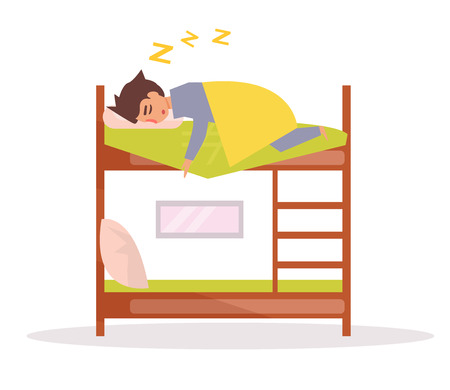 Man sleeps on a bunk bed.