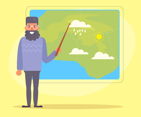 Weather forecast. Man Vector. Cartoon illustration.