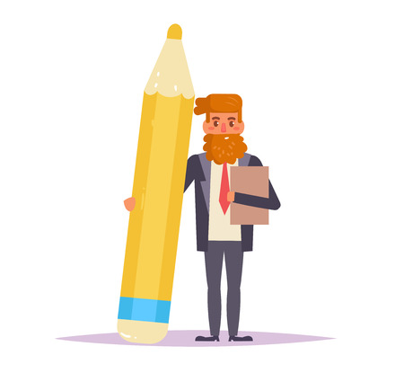 Businessman with pencil. Vector Illustration