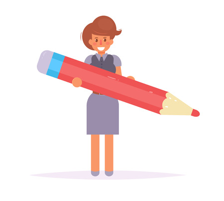 Businesswoman with pencil in hand