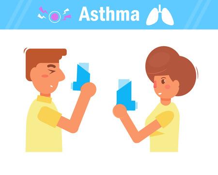 Asthma Vector cartoon illustration.