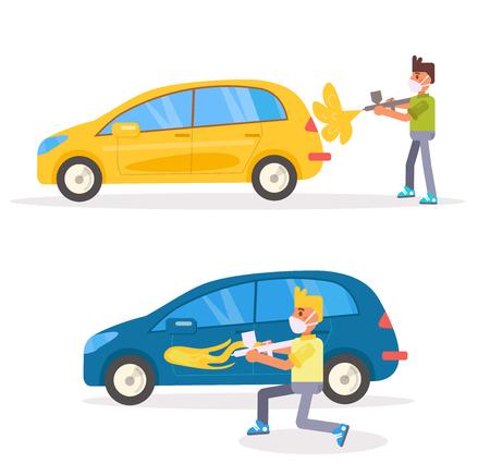 Car painting Airbrush Vector. Cartoon