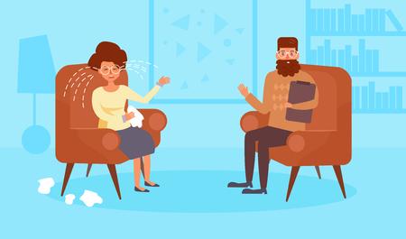 Psychologist. Vector Cartoon Isolated art Flat Woman Man