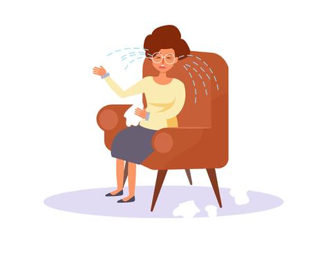 Woman crying. Vector. Cartoon. Illustration