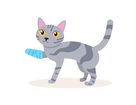 Cat with a broken leg Vector. Cartoon